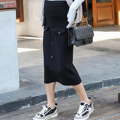 Maternity wear casual fake pocket buckle solid color bag hip skirt