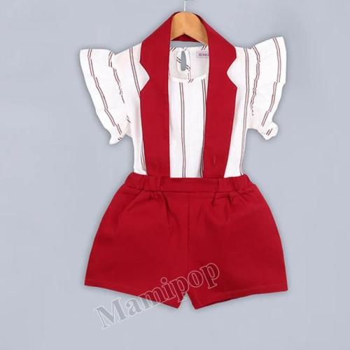 2020 children's wear children's stripe suit women's flying sleeve back belt pants two-piece set