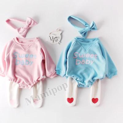 Winter Round Neck Baby Newborn Clothes Sweetheart Bow Jumpsuit and Velvet Thickening