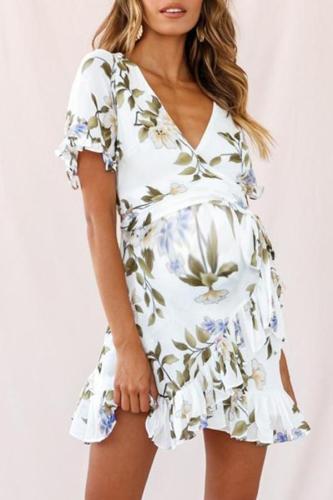 Maternity Surplice Printing Casual Above Dress