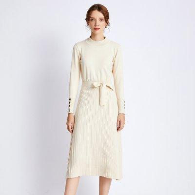 Long Half-height Knitted Dress Over  Knee-length Strap Dress