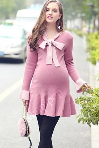 Pregnant women dress  new bow tie with knitted dress loose lotus leaf-side sweater