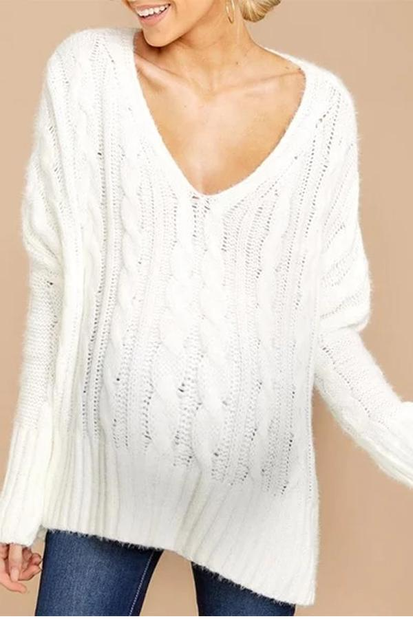 Maternity Casual Pure Color V Neck Long Sleeve Slit Sweater