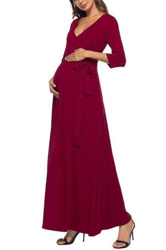 Maternity 3/4 Sleeve Dress With Belt