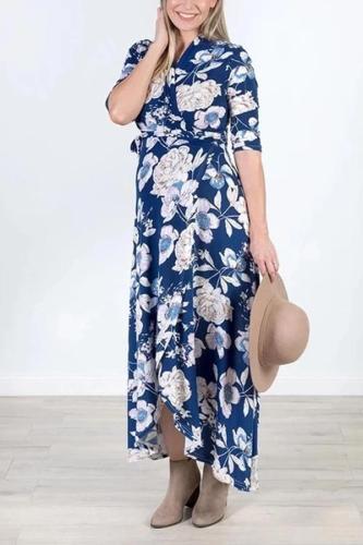 Maternity Elegant V-Neck Floral Print With Irregular Dress