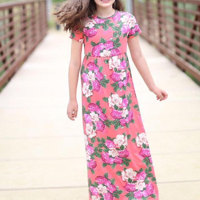 Casual Short-sleeved Round Collar Parent-child Dress