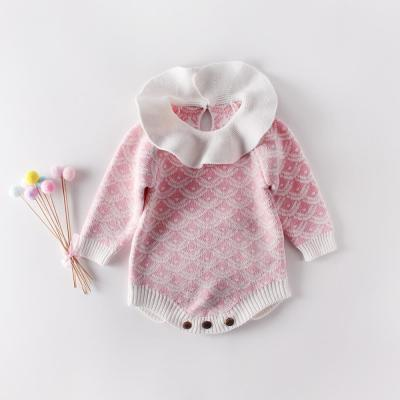 Baby collar line-print knitted jumpsuit