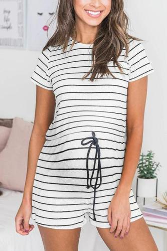 Maternity Round Collar Striped Rope Drawing Casual  Jumpers