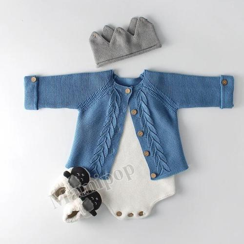 Spring and Autumn Infant Child Set Leaf Knitted Jacket and Wool Coat Climbing Suit