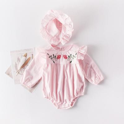 New Autumn Baby Girl Embroidered Long Sleeve Romper Cotton One Piece