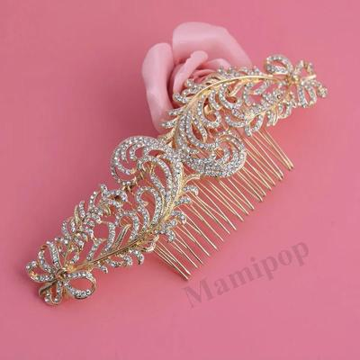 Classic Bridal Combs Hair Accessories Luxury Gold Headdress Vintage Golden Comb