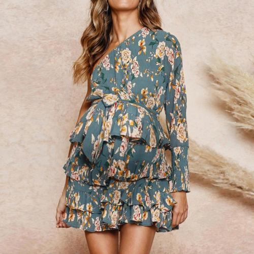 Maternity Sloping Shoulder Long Sleeve Floral Printed Layered Dress