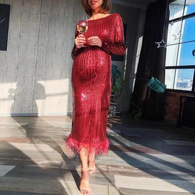Maternity Fashion Bare Back Long Sleeve Splicing Tassel Dress
