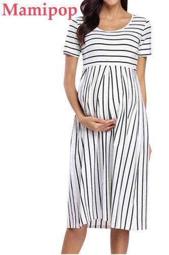 Elegant Short Sleeve Casual Maternity Nursing Solid Breastfeeding Maternity Dress