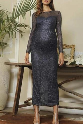 Maternity round neck see-through bare back long evening dress