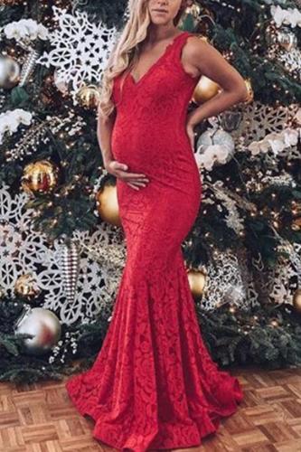 Maternity V-Neck Lace Halter Top Maxi Dress
