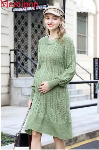 Maternity Dress Autumn and Winter Dress Pregnancy Shirt Knit Sweater