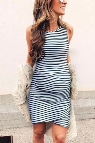 Maternity Casual Crew Sleeveless Striped Cross Hem Dress