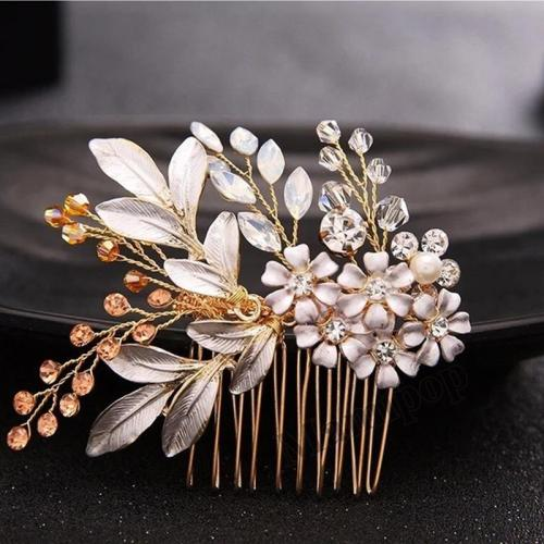 Wedding Gold White leaves bridal hair combs handmade flowerAccesories