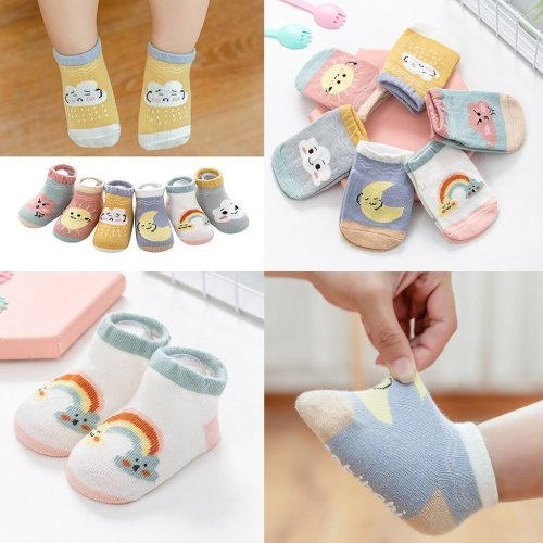 Kids Infant Baby Boys Girls Breathable Cartoon Weather Printed Socks Children's Boat Socks Non-slip Socks