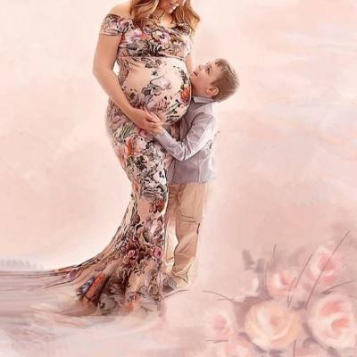 Maternity Floral Print Off Shoulder Floor-Length Dress