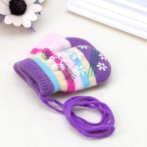 Children Snow Stripe Soft Knit Winter Mittens (1-3 years)