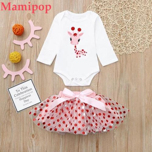 Baby Girls Outfits Cartoon Giraffe Tops Dot Tutu Dress Stylish Outfits Set