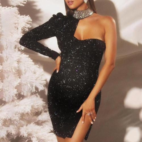 Maternity Black Single Sleeve Party Dress