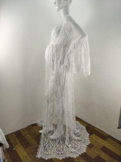 White Lace Pregnant Women Maxi Dress for Photo Shoot