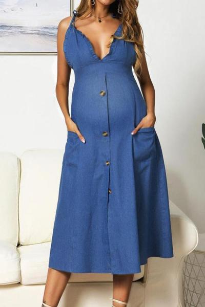 Maternity Sexy Sling Pure Color Single-Breasted Dress