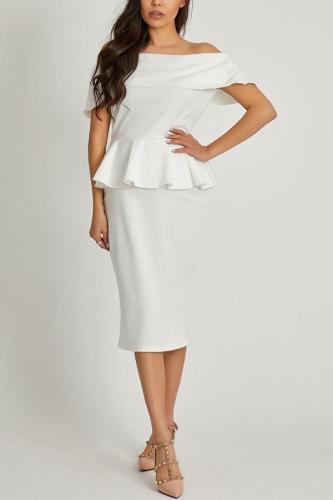 Maternity Open Shoulder  Plain  Blend Bodycon Dress