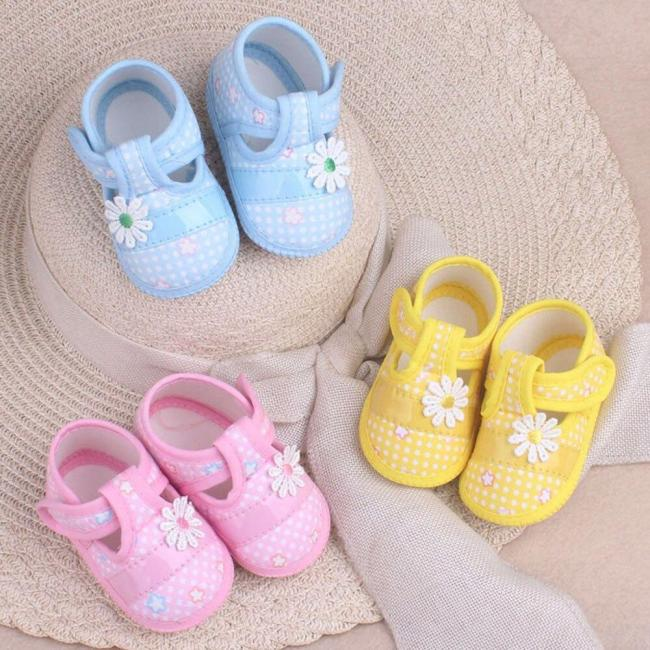 Cotton First Walkers Baby Shoes Princess Printing Flower Soft Bottom Prewalker Shoes