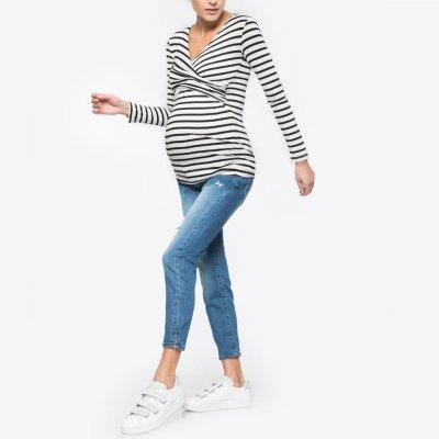 New V-neck Long Sleeve Striped Pregnant Woman's Baby Breast-Feeding T-shirt