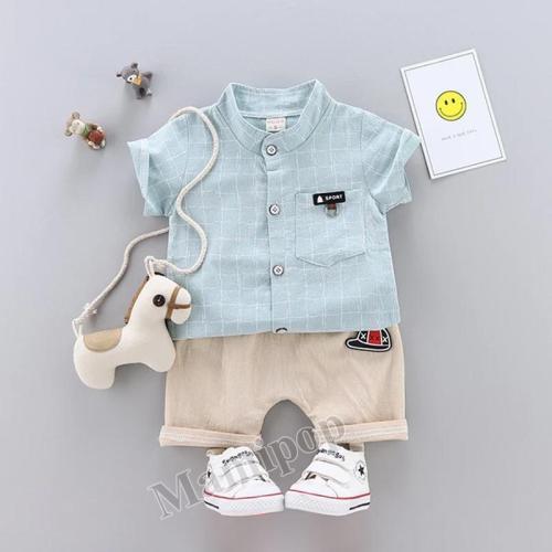 2020 summer new boys lapel plaid striped shirt fashion yam classic two-piece set