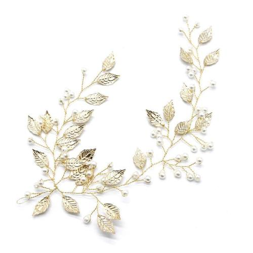 Golden Tree Leaves Pearl Branch Dinner Dress Hair Headwear