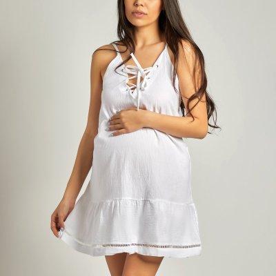 Maternity V-Neck Ruffled Stitching Open Back Dress