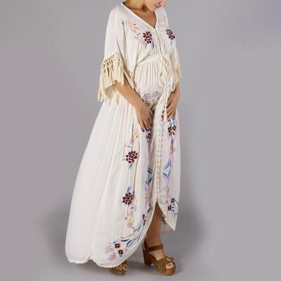 Fashion embroidered maternity V-neck dress