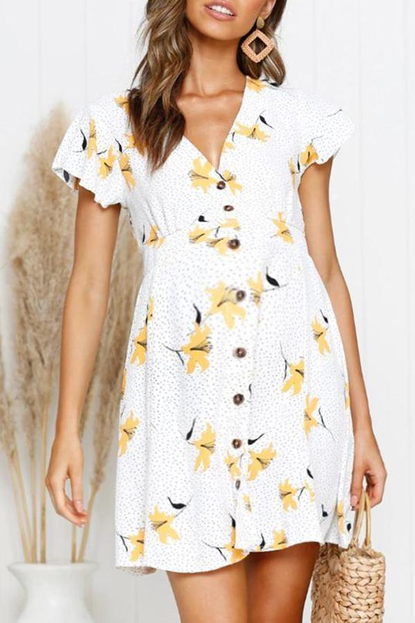 Maternity Printed Ruffle Sleeve Dress