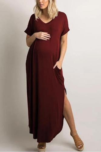 Maternity Pure Color V-Collar Short-Sleeved Loose Irregular Dress