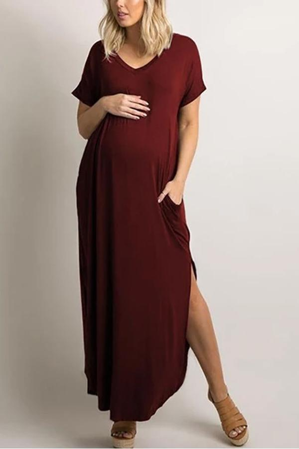 Maternity Pure Color V-Collar Short-Sleeved Loose Irregular Dress