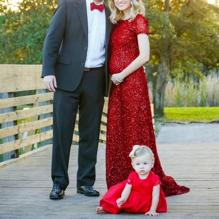 Christmas Red Elegant Short Sleeve Sequin Mesh Gown