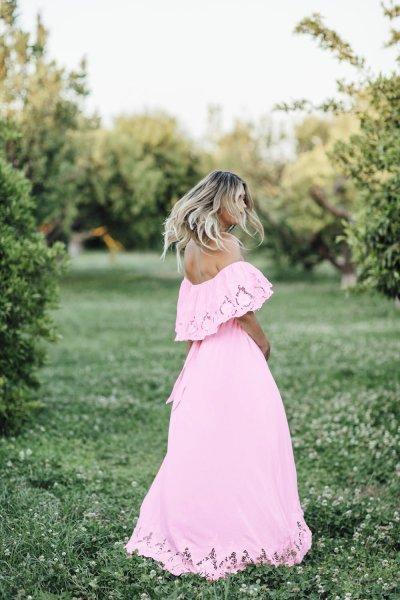 Maternity Solid Pink Lace Off Shoulder Dress