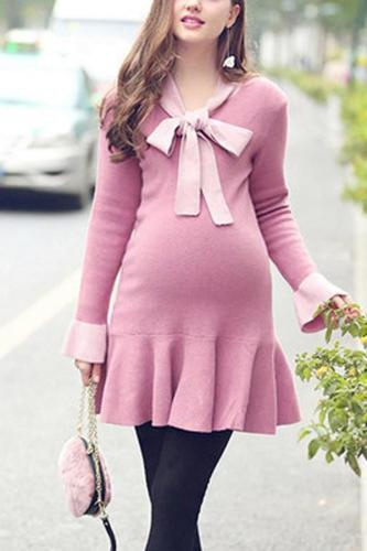 Maternity Ruffle Bow Long Sleeve Sweater Dress