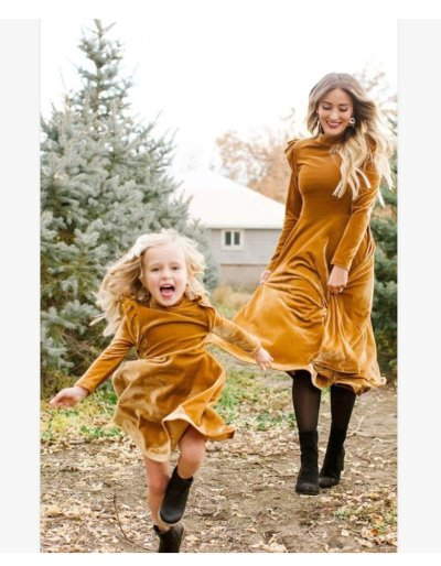 Full Sleeve Mommy And Me Dresses Clothes Family Matching Outfits