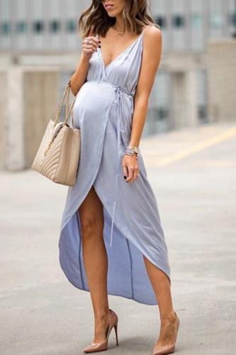 Maternity Slit Front Self Tie Cami Dress