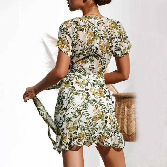 Maternity V-Neck Printed Dress