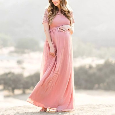 Maternity Pink Short Sleeve Lace Dress