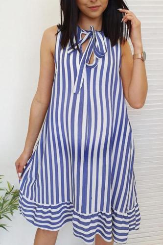Maternity Sleeveless Stripe A-Line Above Dress