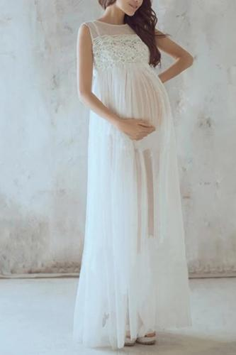 Maternity Lace Perspective Sexy Sleeveless Loose Dress