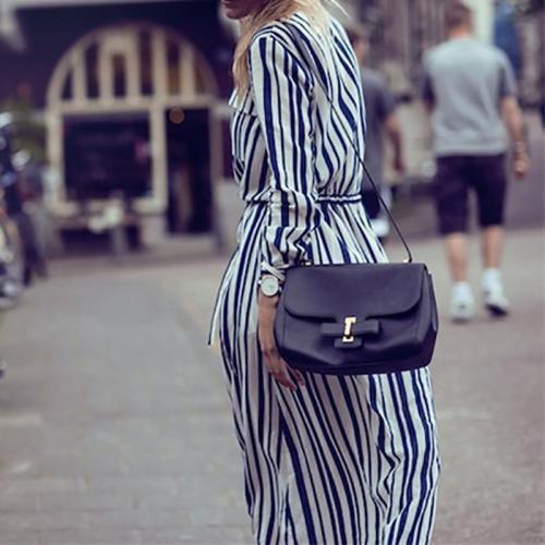 Maternity Fashion V Neck Striped Belted Shirtdress